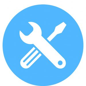 A screwdriver and a wrench. Vector icons for video, mobile apps, Web sites and print projects.